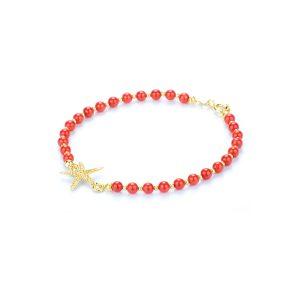 Bracciale Corallo Rosso e Stella Circe in Oro18 kt