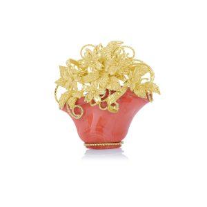 Ciondolo Cestino Corallo Rosso e Oro