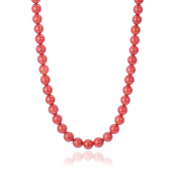 Collana Corallo Rosso del Mediterraneo da 10 mm Qualità Extra con chiu. Oro 18 kt-1