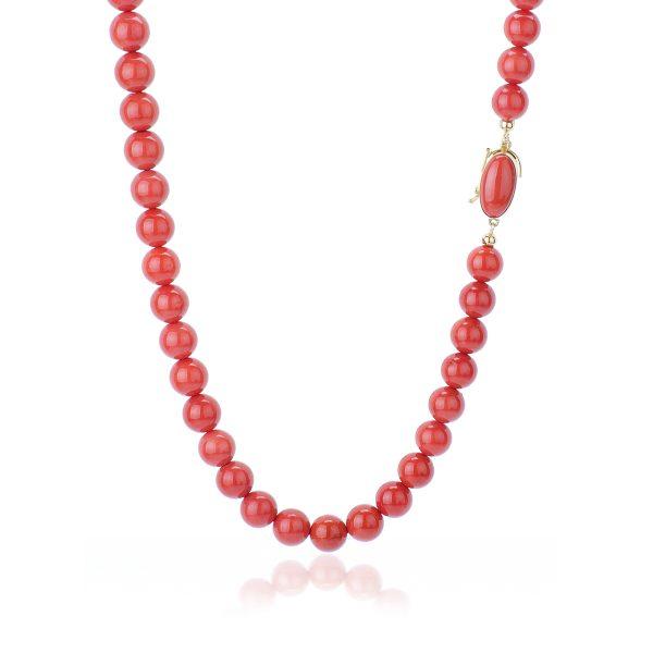Collana Corallo Rosso del Mediterraneo da 10 mm Qualità Extra con chiu. Oro 18 kt-2