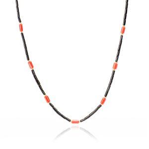 Collana Deep di Corallo Nero e Corallo Rosso in Oro 18 kt