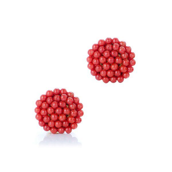 Orecchini a Bottone con Corallo Rosso a Pallino Tessito in Argento Dorato-1