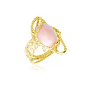 Anello con Cabochon in Corallo Rosa ed intreccio di rami in Oro 18 Kt