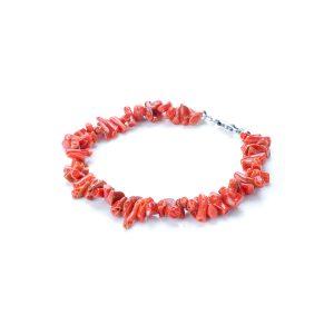 Bracciale Corallo Rosso a Cupolino con chiu. in Argento
