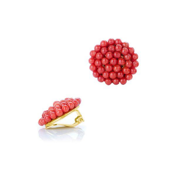 Orecchini Corallo Rosso Tessito in Argento Dorato-2
