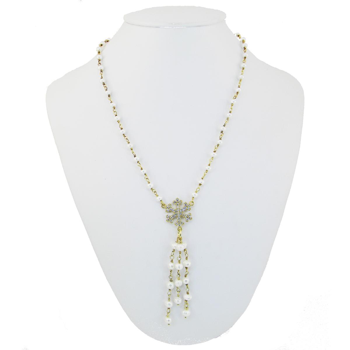 Collana perle e Fiocco di Neve, collana , perle, fiocco di neve, argento, dorato,