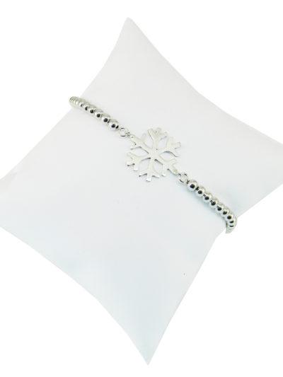 bracciale pallini e fiocco, bracciale fiocco di neve, argento
