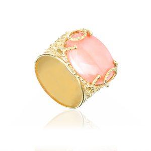 Anello Unique a Fascia con Cabochon di Corallo Rosa del Giappone in Oro 18 kt