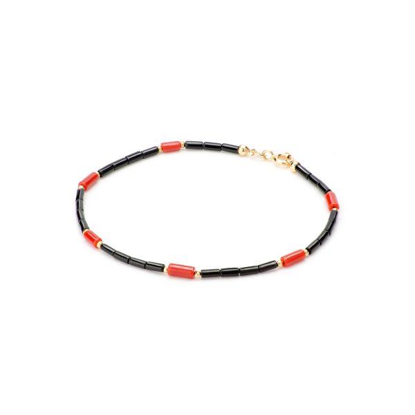 Bracciale Deep in Oro con cannettine di Corallo Rosso e Corallo Nero