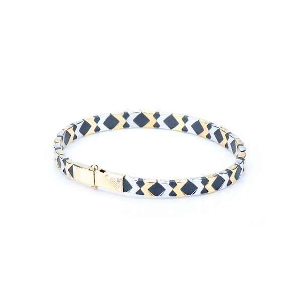 Bracciale Uono in Oro Bianco e Oro Giallo con Diamante