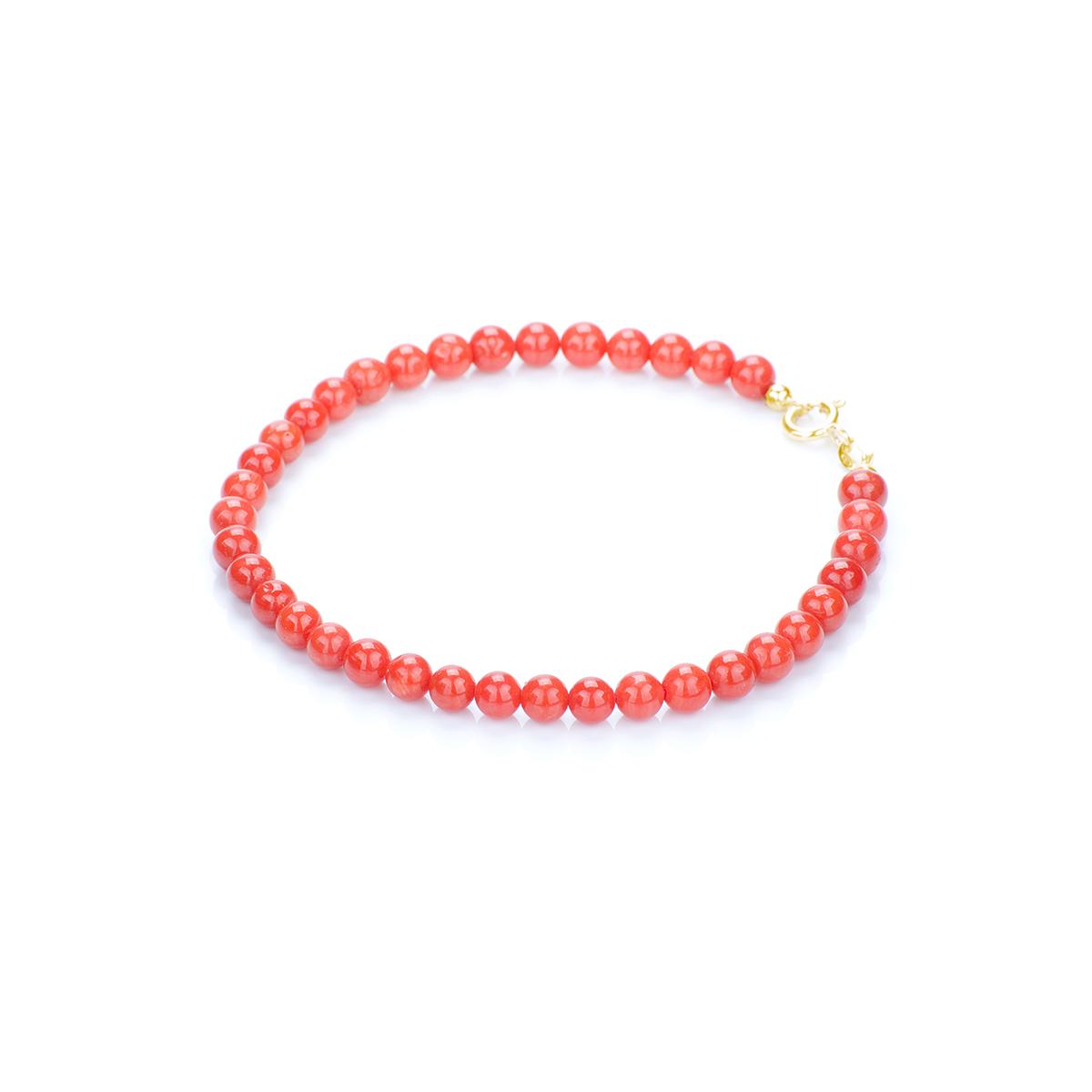 codice promozionale f62b0 fec36 Bracciale Corallo Rosso a Pallini in Oro 18