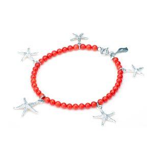 Bracciale Corallo Rosso con Cinque Stelle Marine Circe in Argento