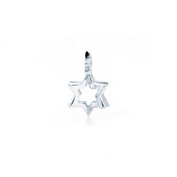 Ciondolo Stella Traforata con Diamanti in Oro Bianco 18 kt