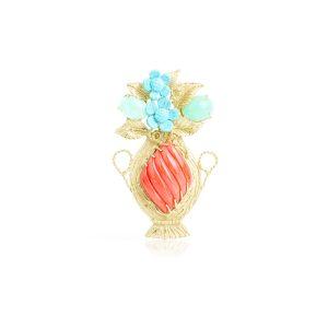 Ciondolo Vaso con Cabochon di Corallo Rosso e Crisopasio e fiori di Turchese in Oro 18 t