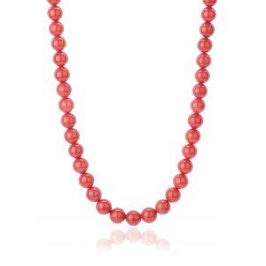Collana Corallo Rosso del Mediterraneo da 10 mm Qualità Extra con chiu. Oro 18 kt