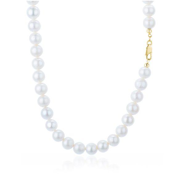 Collana Perle Bianche d'Acqua Dolce da 9 mm chiu. Oro 18 kt