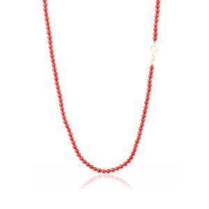 Collana Corallo Rosso a Pallini in Oro
