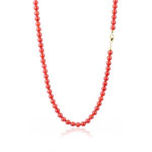 Collana di Corallo Rosso del Mediterraneo da 6 mm in Oro 18 kt