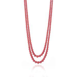Collana due Fili a Gradazione di Corallo Rosso Sardo con chiu. in Oro 18 kt