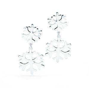 Orecchini Fiocco di Neve Doppio Pendente Argento