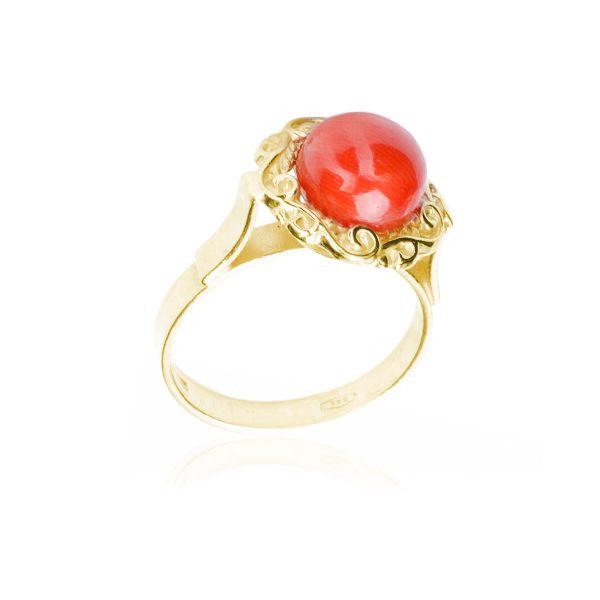 Anello Boule di Corallo Rosso in Oro-1