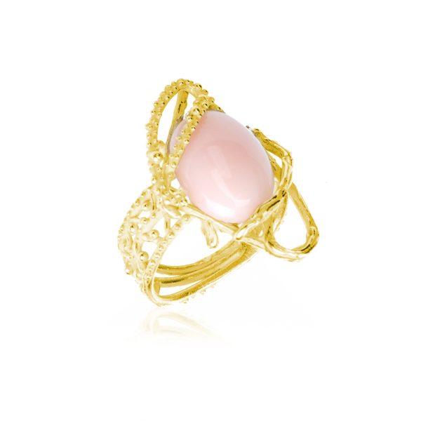 Anello con Cabochon in Corallo Rosa ed intreccio di rami in Oro 18 Kt-1