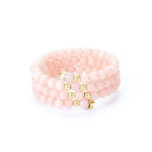 Anello spirale corallo rosa e oro