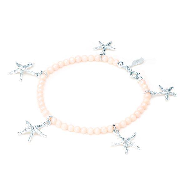 Bracciale Corallo Rosa con Cinque Stelle Marine Circe in Argento