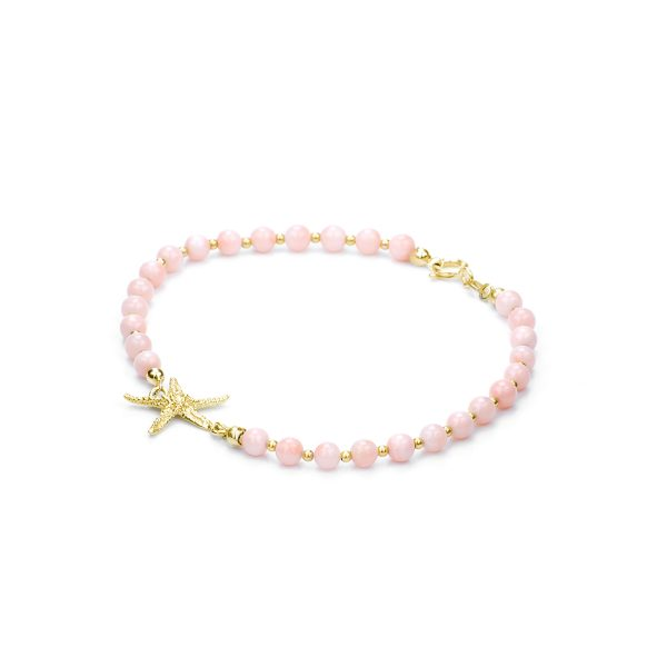 Bracciale Corallo Rosa e Stella Circe in Oro 18 kt