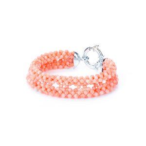 Bracciale di Corallo Rosa del Giappone Tessito chiu. in Argeto