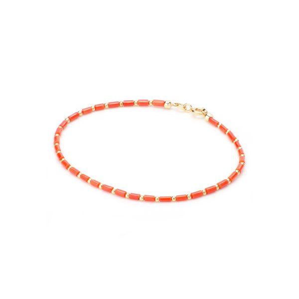 Bracciale di Corallo Rosso e Oro 18 kt