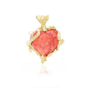 Ciondolo Cuore Corallo Rosso con Angelo e Oro 18 kt
