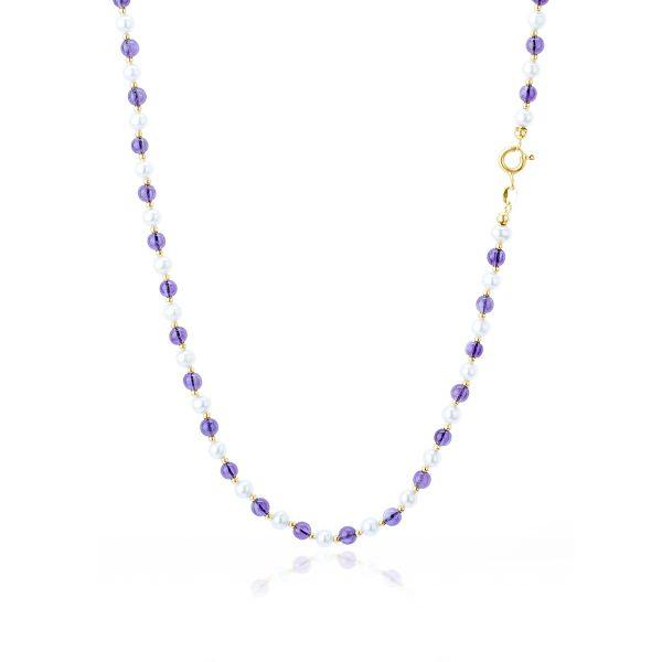 Collana Ametista e Perle Bianche d'Acqua Dolce in Oro 18 kt-1
