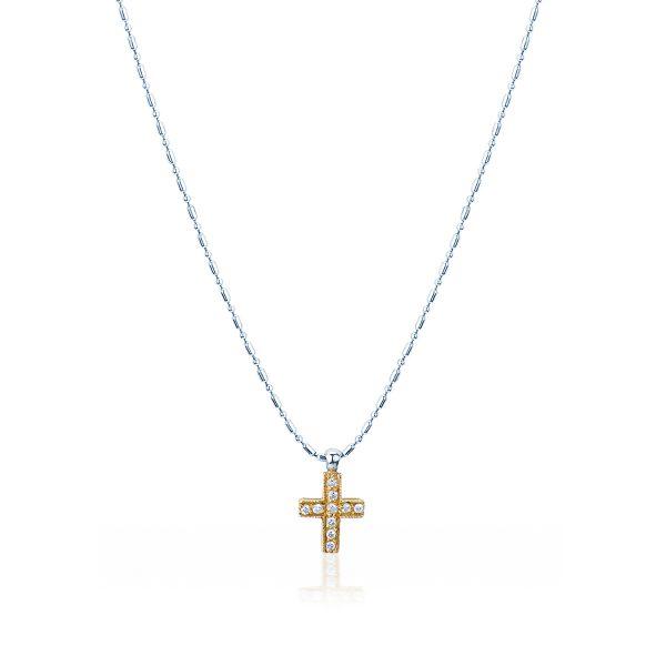 Collana Croce e Diamanti in Oro 18 kt