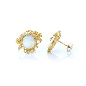 Orecchini con Cabochon di Opale Nobile in Oro 18 kt