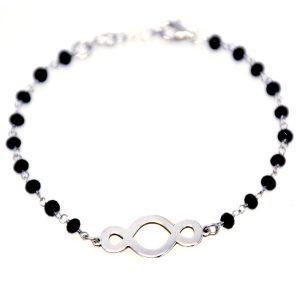 bracciale cristalli neri e simbolo terzo paradiso