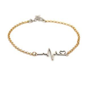 bracciale argento con elettrocardiogramma